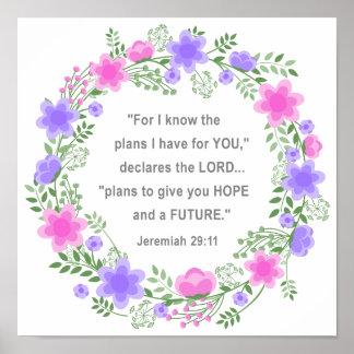 Pink & Purple Floral Jeremiah 29:11 Poster 12 x 12