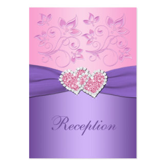 Pink, Purple Floral Joined Hearts Enclosure Card