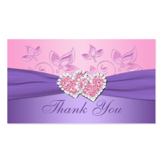 Pink, Purple Floral Joined Hearts Favor Tag Business Card