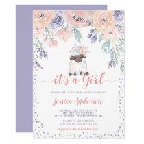 Pink Purple Floral Lamb Girl Baby Shower Invitation