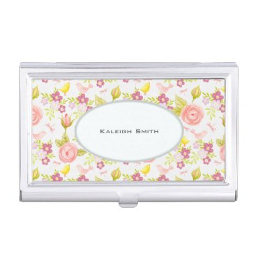 Professional Business Pink Purple Floral on White Personalized Business Card Holder