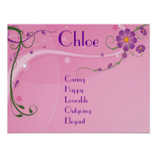 Pink Purple Floral Teen Girl Name Art Poster Decor