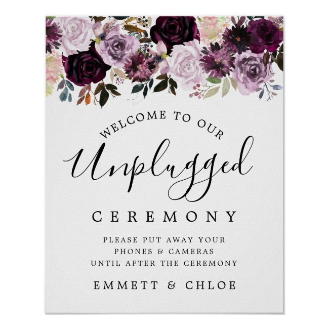 Pink Purple Floral Unplugged Wedding Ceremony Sign