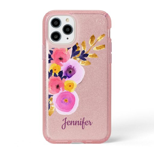 Pink Purple Floral Watercolor Custom Speck iPhone 11 Pro Case