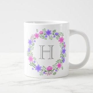 Pink & Purple Floral Wreath Monogrammed Jumbo Mug