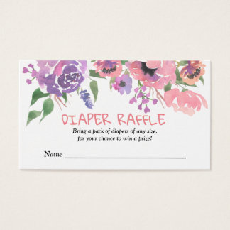 Pink Purple Florals | Baby Shower Diaper Raffle Business Card