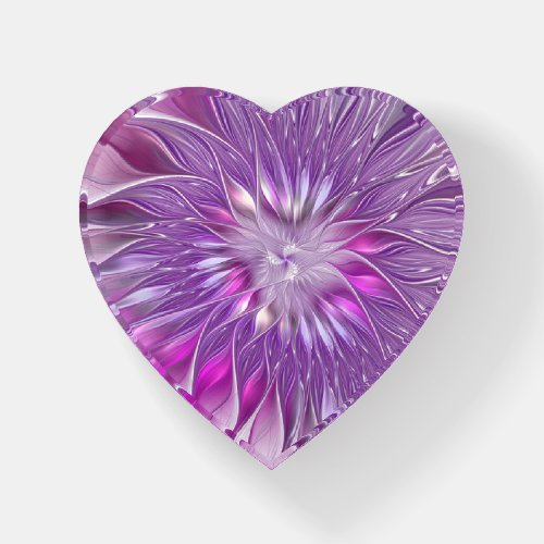 Pink Purple Flower Abstract Fractal Art Heart Paperweight