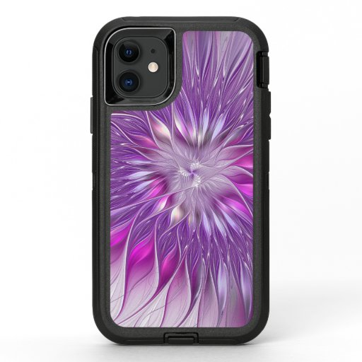 Pink Purple Flower Passion Abstract Fractal Art OtterBox Defender iPhone 11 Case