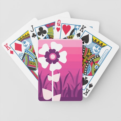 Pink Purple Flower Sunset Bicycle Card Deck