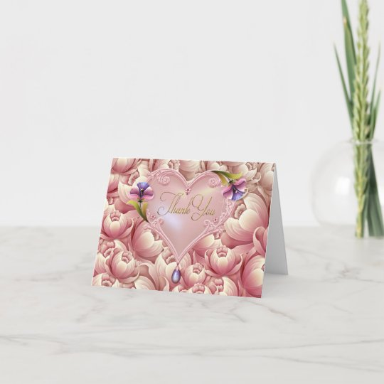 Pink purple flowers gold heart thank you cards zazzle pink purple flowers gold heart thank you cards mightylinksfo