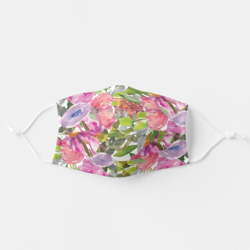 Pink Purple Flowers Green Leaves Botanical Garden Cloth Face Mask