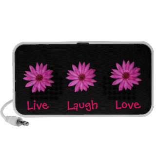 Pink Purple Flowers Live, Laugh, Love Black Mp3 Speakers