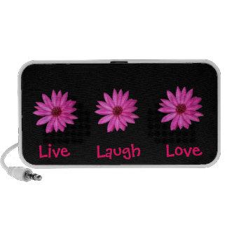 Pink Purple Flowers Live, Laugh, Love Black PC Speakers