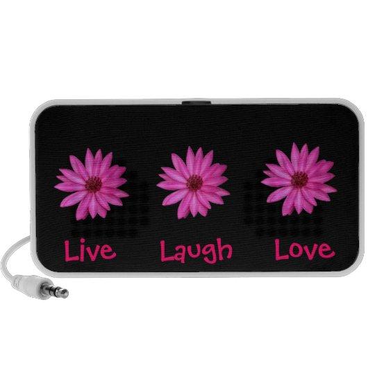 Pink Purple Flowers Live, Laugh, Love Black Speaker