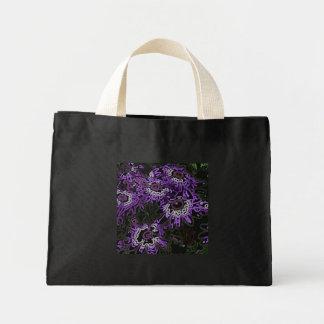 Pink - Purple Flowers on Black Mini Tote Bag