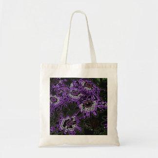 Pink - Purple Flowers on Black Tote Bag