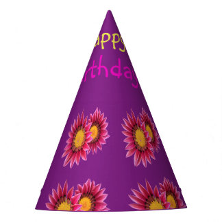 pink purple flowers party hat