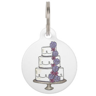 Pink Purple Fondant Wedding Cake Bakery Floral Pet ID Tag