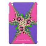 Pink Purple Fractals Monogram iPad Mini Case