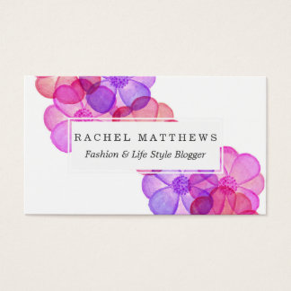 Pink Purple Fuchsia Painted Watercolor Flowers Business Card