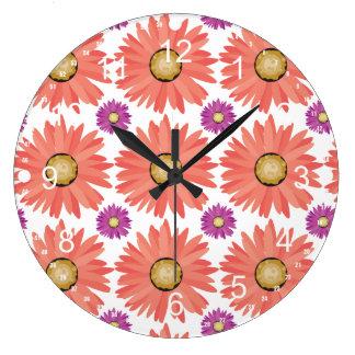 Pink Purple Gerber Daisy Flowers Floral Pattern Clock