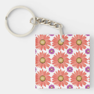 Pink Purple Gerber Daisy Flowers Floral Pattern Double-Sided Square Acrylic Keychain
