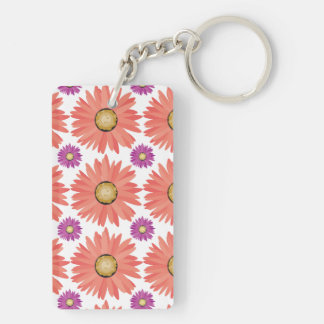 Pink Purple Gerber Daisy Flowers Floral Pattern Double-Sided Rectangular Acrylic Keychain