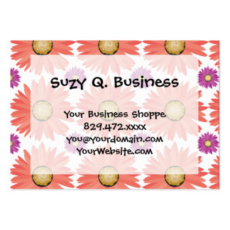 Pink Purple Gerber Daisy Flowers Floral Pattern Large Business Card
