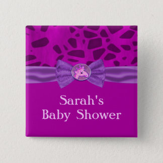 Pink & Purple Giraffe Baby Shower Pinback Button