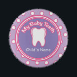 """Pink &amp; Purple Girl Baby Tooth Fairy Tin<br><div class=""""desc"""">Pink &amp; Purple Girl Baby Tooth Fairy Keepsake Tin.  Comes with a candy inside as a bonus!  Enjoy the candy and use this as a Tooth Fairy box to keep your child&#39;s teeth!  Great Gift Idea for anyone with children at the baby tooth losing age!</div>"""