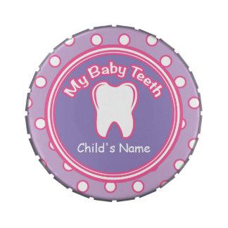 Pink & Purple Girl Baby Tooth Fairy Tin