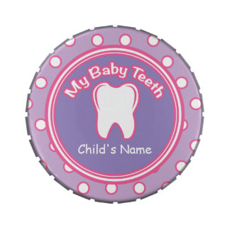 Pink & Purple Girl Baby Tooth Fairy Tin Jelly Belly Candy Tins