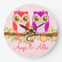 Pink & Purple Girl Owls - Custom Wall Clock