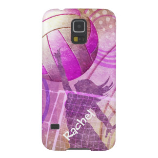 Pink Purple Girly Volleyball girls name Galaxy S5 Case