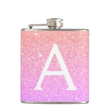 Pink Purple Glitter and Sparkle Monogram Flask