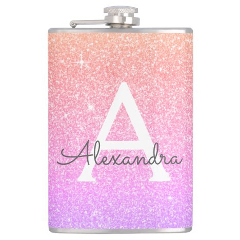 Pink Purple Glitter and Sparkle Monogram Flask