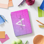"""Pink Purple Glitter and Sparkle Monogram iPad Pro Cover<br><div class=""""desc"""">Pink and Purple Ombre Faux Glitter and Sparkle Elegant Monogram Case. This case can be customized to include your initial and first name.</div>"""