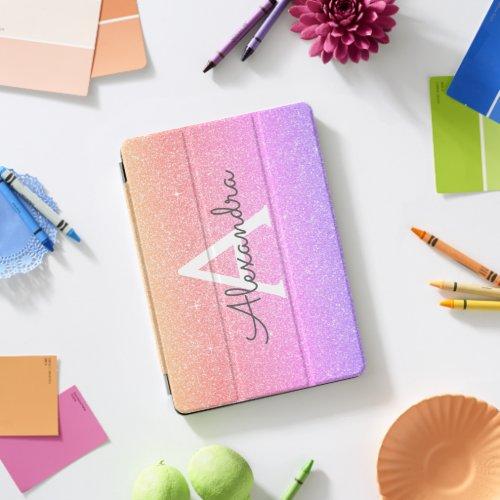 Pink Purple Glitter and Sparkle Monogram iPad Pro Cover