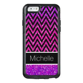 Pink Purple Glitter Black Chevrons iPhone 6 Case