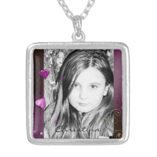 Pink & Purple Glitter Hearts Necklaces