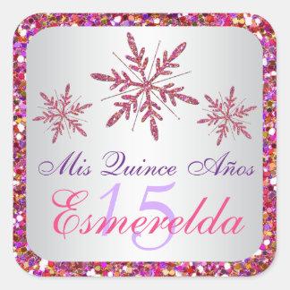 Pink, Purple Glitter LOOK Snowflakes Sticker