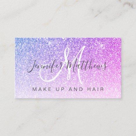 Pink Purple Glitter Makeup Artist Hair Salon Business Card