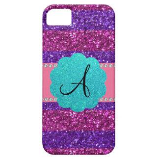 Pink purple glitter monogram diamonds iPhone 5 cases