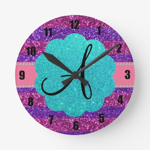 Pink purple glitter monogram diamonds round wallclocks