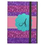 Pink purple glitter monogram diamonds iPad cover