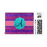 Pink purple glitter monogram diamonds postage