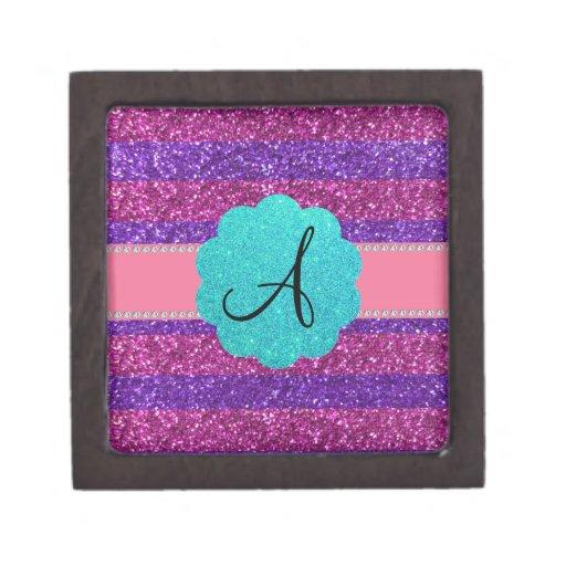 Pink purple glitter monogram diamonds premium trinket boxes