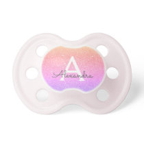 Pink Purple Glitter & Sparkle Monogram Baby Pacifier