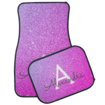 Pink Purple Glitter Sparkle Monogram Car Mat