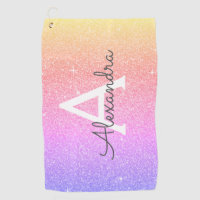 Pink Purple Glitter & Sparkle Monogram Name Golf Towel
